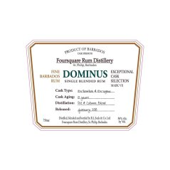Foursquare: Exceptional Cask Selection VII: Dominus: Label (Photo from Internet)
