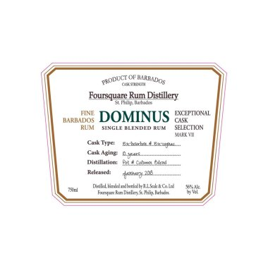Foursquare: Exceptional Cask Exceptional Cask Selection VII: Dominus: Label (Photo from Internet)