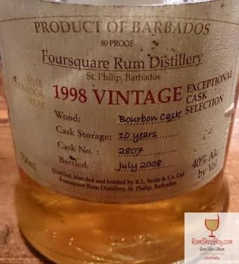 Foursquare: Exceptional Cask Selection I: 1998 Vintage: Bottle - Label