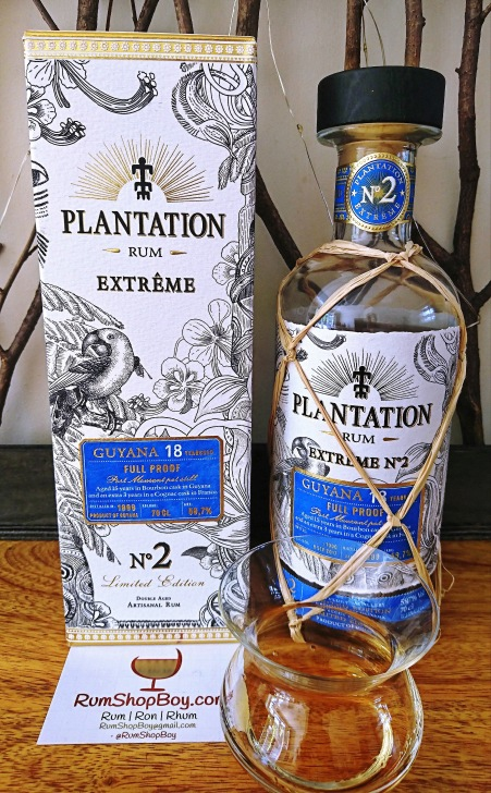 Plantation Extrême 2 Guyana 18 YO: Box, Bottle and Glass