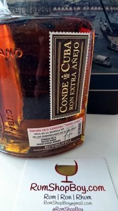 Conde de Cuba 15 Anos Rum: Bottle (Front Right, Label)