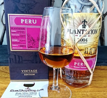 Plantation Peru 2004 Rum: Box, Bottle and Glass