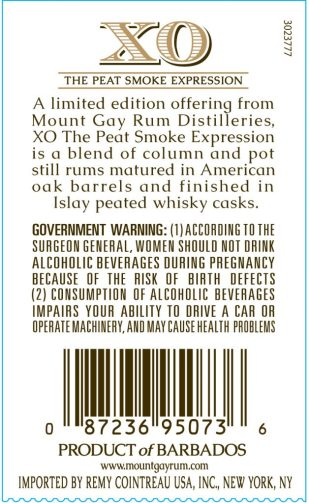 Mount Gay XO Peat Smoke Expression: Label Rear (US) (Photo From Internet)