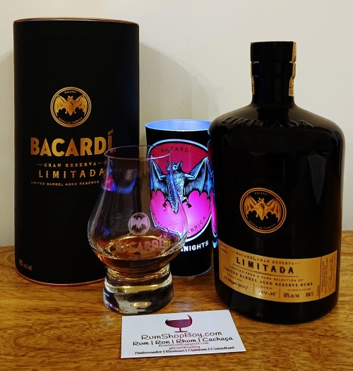 Bacardi Gran Reserva Rum: Box, Bottle and Glass