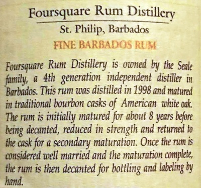 Foursquare: Exceptional Cask Selection I: 1998 Vintage: Rear Label