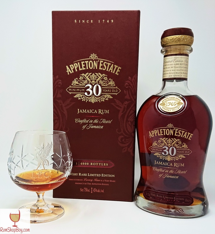 Appleton 30yo Bottle, Box and Glass