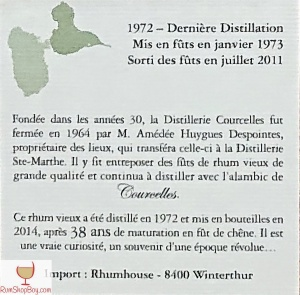 Domaine de Courcelles (1972) Bottle (Rear Label)