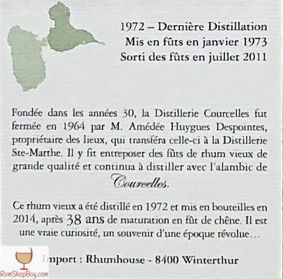 Domaine de Courcelles (1972) Bottle (Rear Label)