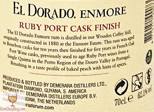 Enmore (Ruby Port wine Cask Finish) 2003 15yo Rear Label