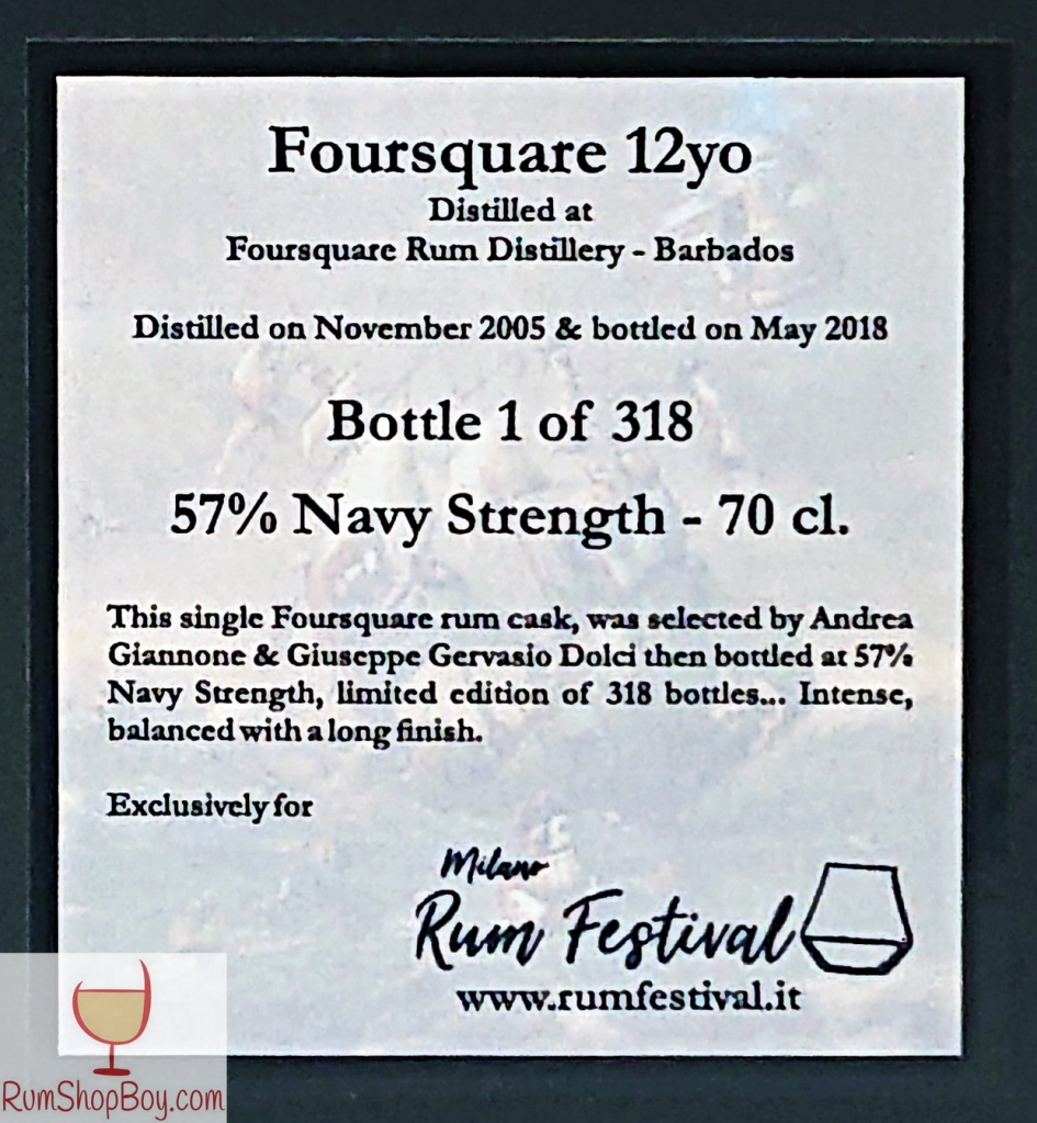 Foursquare 2005 Milano Rum Festival 12yo Box (Rear Label)