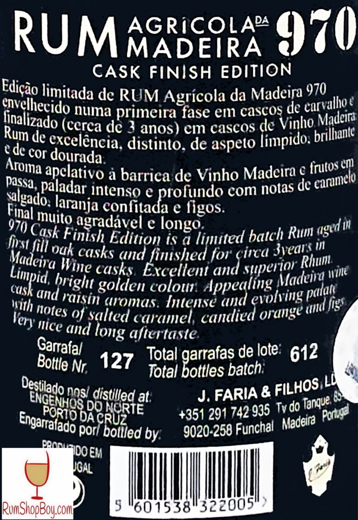 Rum 970 Madeira Cask Rear Label