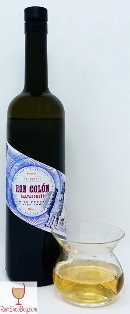 Ron Colón Salvadoreño Rum Bottle and Glass
