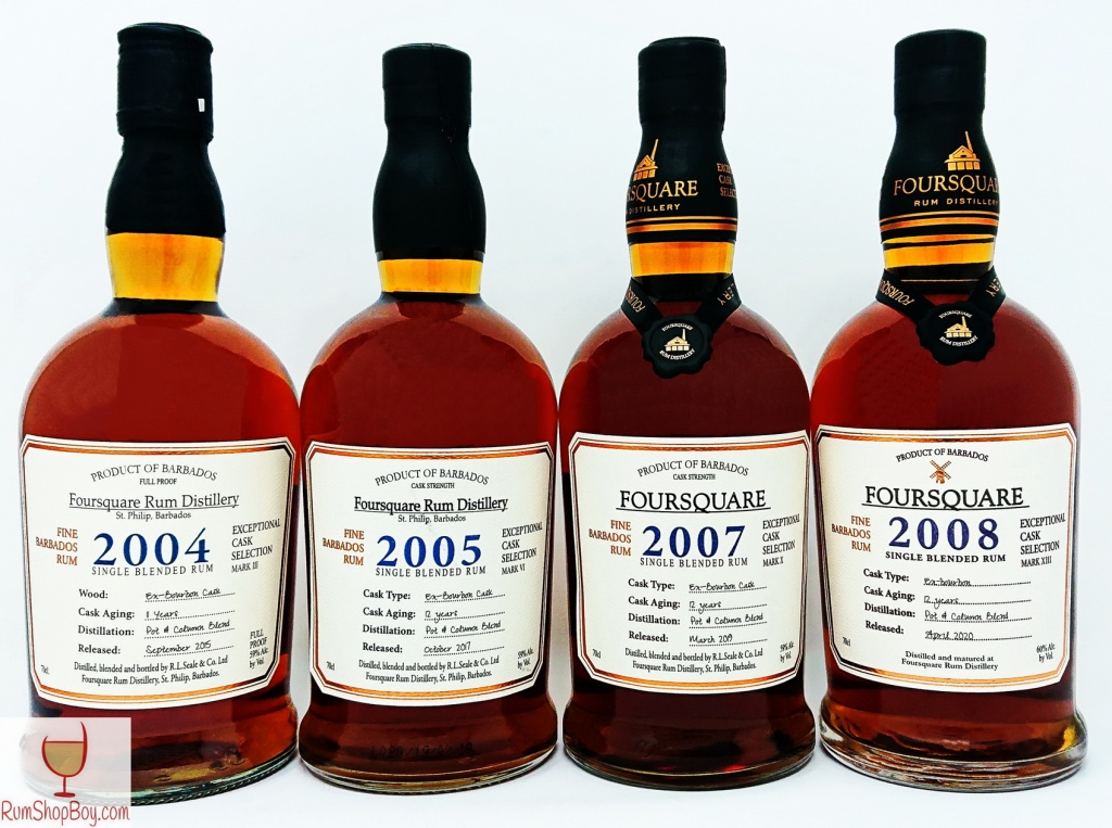 Foursquare 2004, 2005, 2007 and 2008 Bottles
