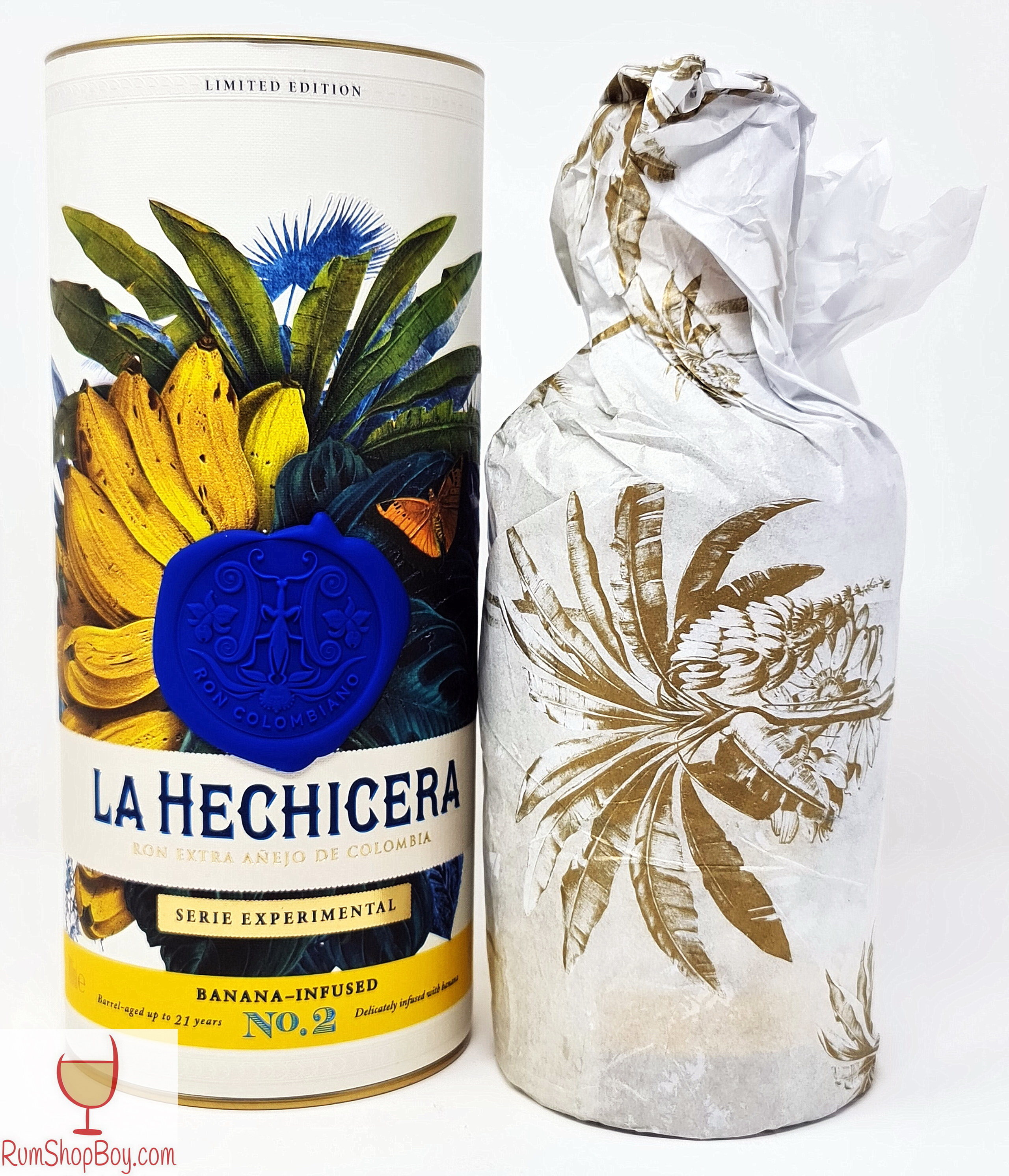 La Hechicera Banana Infused Rum Tin and Bottle