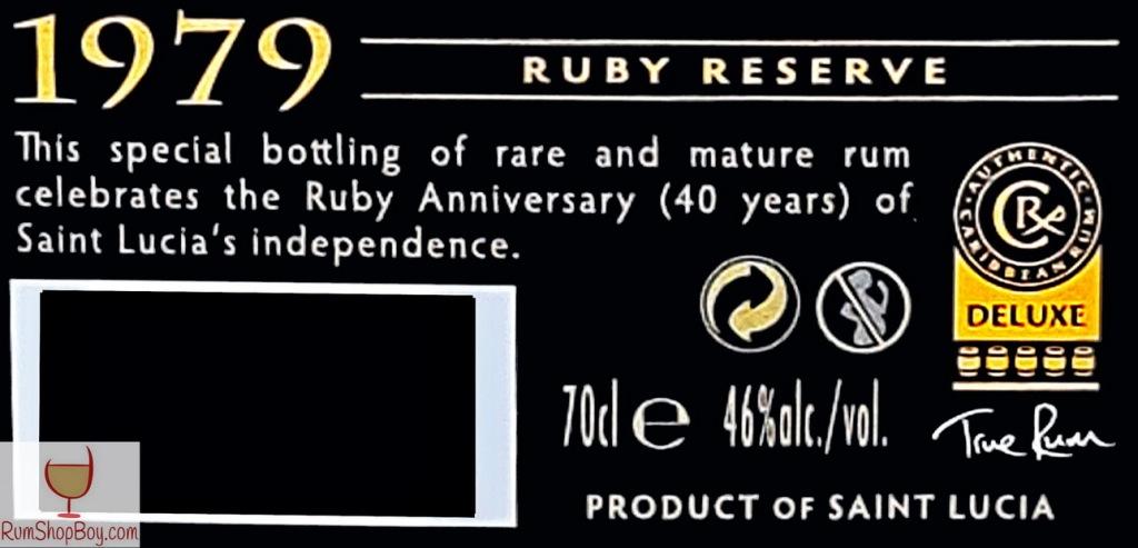 SLD 1979 Ruby Reserve Bottle (Rear Label)